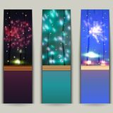 Set of banners with fireworks. Stock Photos