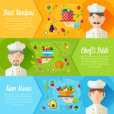 Set of banners with flat cook portraits and dish icons Royalty Free Stock Photo
