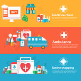 Set of banners flat medical icons illustration Stock Photos