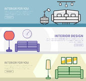 Set of banners in a flat style with interior design. In different colors and shapes. Vector illustration Stock Image