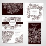 Set of banners with floral Indian ornaments can be Royalty Free Stock Images