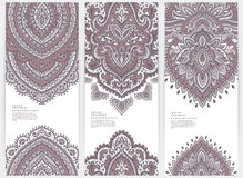 Set of banners with floral Indian ornaments can be Stock Image