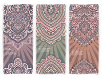 Set of banners with floral Indian ornaments can be Stock Photography