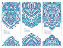 Set of banners with floral Indian ornaments can be Stock Photo