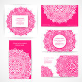 Set of banners with floral Indian ornaments can be Stock Images