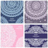 Set of banners with floral Indian ornaments  Royalty Free Stock Images