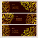 Set of banners with floral Indian ornaments. Can be used as a business cards Royalty Free Stock Photo
