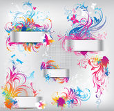Set of banners with floral ornament Royalty Free Stock Photo
