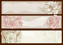 Set of banners with flowers Royalty Free Stock Photo