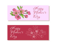 Set of  banners with flowers for Mothers Day Royalty Free Stock Photos