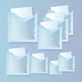 Set of banners with folders and paper. On a blue background Royalty Free Stock Photos