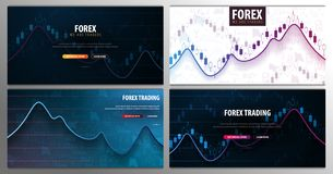 Set banners of Forex Trading Signals. Candlestick chart in financial market. Vector illustration. Set banners of Forex Trading Signals. Candlestick chart in royalty free illustration