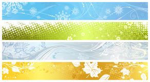 Set of banners of four seasons. Four banners: Winter, Spring, Summer and Autumn. There is place for your text.  Banners are grouped and layered separately Royalty Free Stock Photos