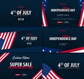 Set Banners of Fourth of July. 4th of July. Independence Day of the USA. Vector illustration. Stock Images