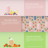 Set of banners with fruit and vegetable smoothies Royalty Free Stock Photo