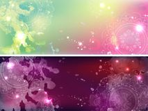 Set of banners with a galactic background. Watercolor stains Royalty Free Stock Image