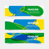 Set of banners. Geometric background with Brazil flag colors. Set of banners. Three color concept. Geometric background with Brazil flag colors. Can be used in Royalty Free Stock Image