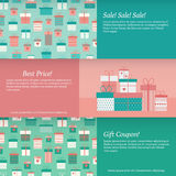 Set of banners with gift boxes. Vector illustration Royalty Free Stock Photography