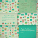 Set of banners with gift boxes. Vector illustration. Horizontal holidays banners with presents, gift boxes in flat style. Vector illustration Stock Images