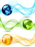 Set of banners with globes. Set of wavy banners with globes Stock Image