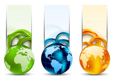 Set of banners with globes. And circles Stock Photo