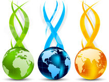 Set of banners with globes. Set of color banners with globe and waves Royalty Free Stock Photography