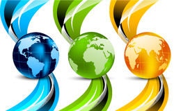 Set of banners with globes. And waves Stock Image