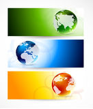 Set of banners with globes Royalty Free Stock Images