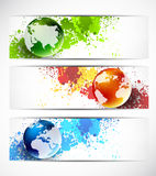 Set of banners with globes Royalty Free Stock Image