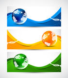 Set of banners. With globes Stock Photography