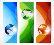 Set of banners with globes Royalty Free Stock Photos