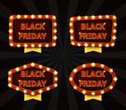 Set of banners with glowing lamps for Black friday Stock Images