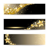 Set of Banners with Gold Stars Stock Photography