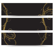 Set of banners golden floral. Set of three banners Stock Photo