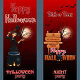 Set of banners with a graveyard scene in the moonlight and cartoon witch girl Royalty Free Stock Photography