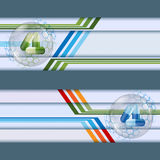 Set of banners with green and blue pills inside glass sphere Stock Photography