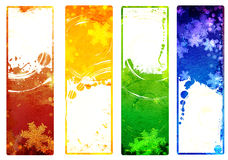 Set of banners with grunge Christmas backgrounds with snowflakes Royalty Free Stock Image