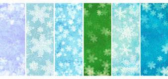 Set of banners with grunge Christmas backgrounds with snowflakes. Collection of banners with grunge Christmas backgrounds of blue, lilac and green color with Stock Image