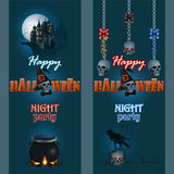 Set of banners with Halloween three dimensions text and haunted castle. Abstract design web banner, header; Set of banners with haunted castle, skull wearing a vector illustration
