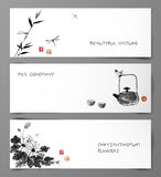 Set of banners hand-drawn in Japanese style Stock Images