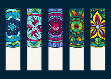 Set 1 of banners, with hand drawn mandalas. Vector illustration Stock Images