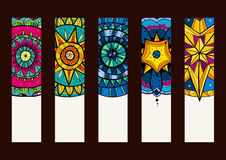 Set 2 of banners, with hand drawn mandalas Royalty Free Stock Photography