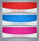 A set of banners Happy New Year 2016. Banner design Happy New Year 2016 with white snowflakes in the background. Vector illustration. Set Royalty Free Stock Photography