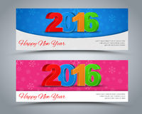 A set of banners Happy New Year 2016. Design banner Happy New Year 2016. 3D text in different colors on the background of snowflakes. Vector illustration. Set Royalty Free Stock Image