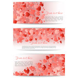 Set of banners with hearts confetti Stock Photography