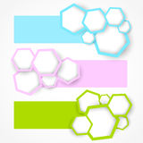 Set of banners with hexagons Stock Photo