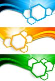 Set of banners with hexagons Stock Image