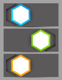 Set of banners with hexagons Stock Photos