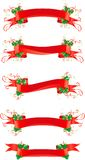 Set of banners with holly. Vector set of red banners with holly for christmas decoration Stock Photos