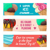 Set of banners with ice-cream Royalty Free Stock Photo